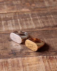 メンズライクで大ぶりなシルバー925とゴールドの指輪